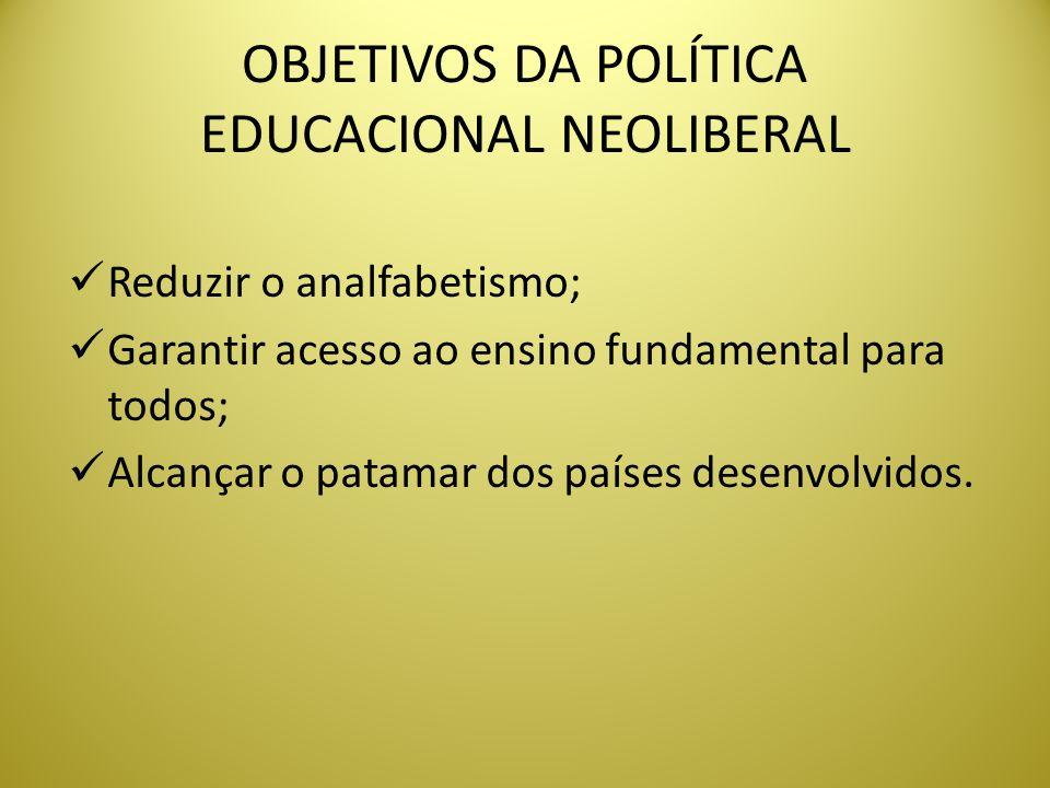 OBJETIVOS DA POLÍTICA EDUCACIONAL NEOLIBERAL
