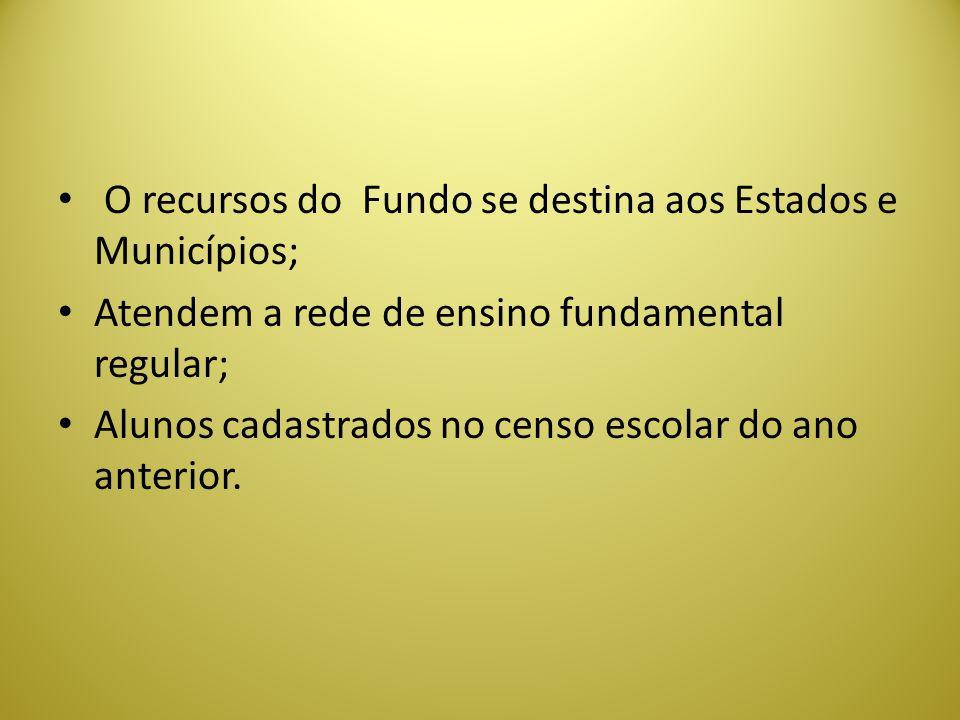 O recursos do Fundo se destina aos Estados e Municípios;