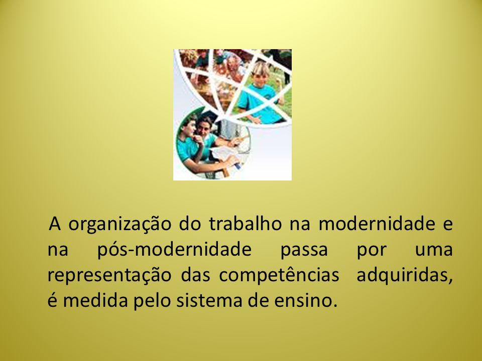 A organização do trabalho na modernidade e na pós-modernidade passa por uma representação das competências adquiridas, é medida pelo sistema de ensino.