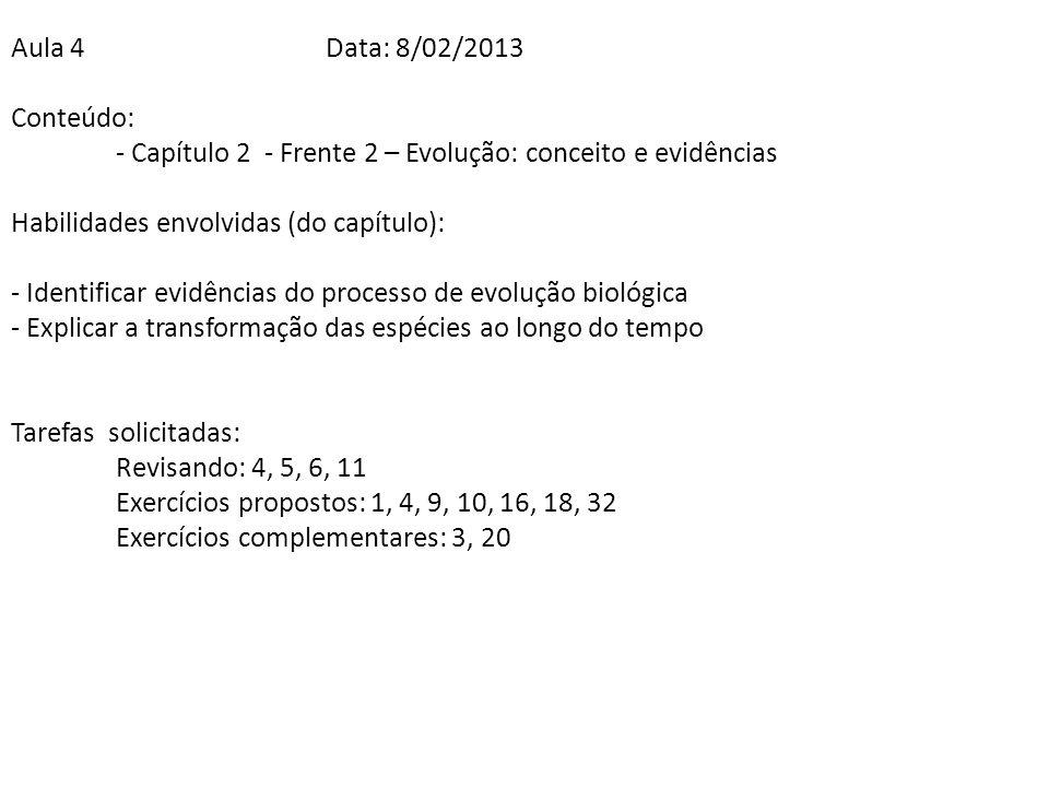 Aula 4 Data: 8/02/2013 Conteúdo: - Capítulo 2 - Frente 2 – Evolução: conceito e evidências. Habilidades envolvidas (do capítulo):