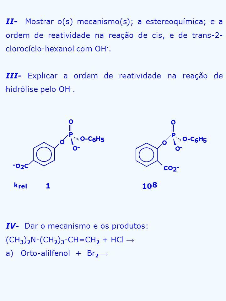 III- Explicar a ordem de reatividade na reação de hidrólise pelo OH-.