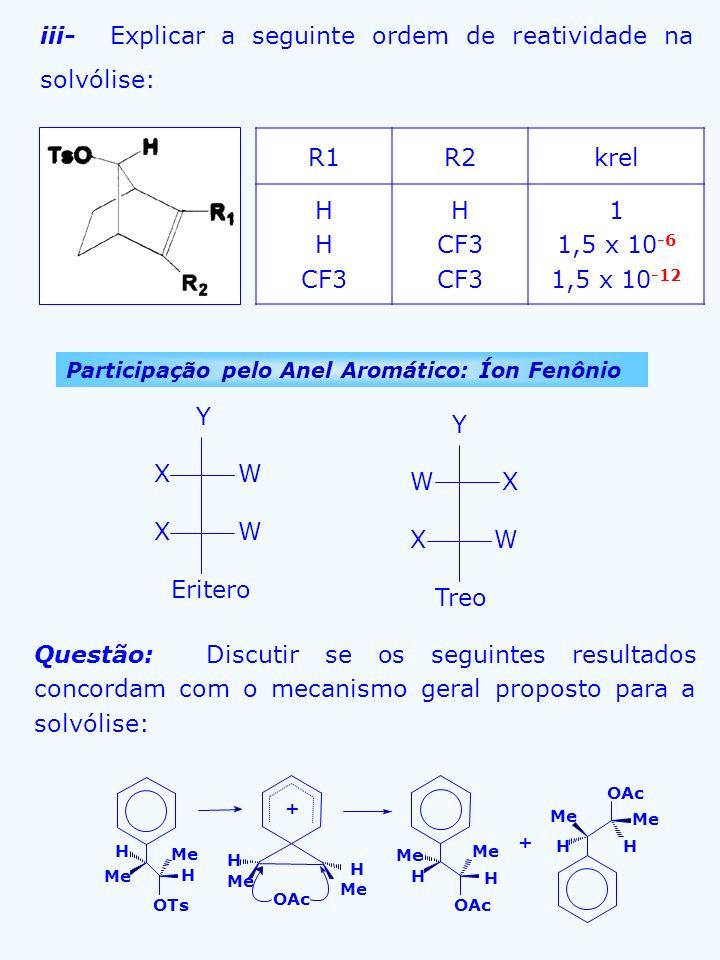 iii- Explicar a seguinte ordem de reatividade na solvólise: