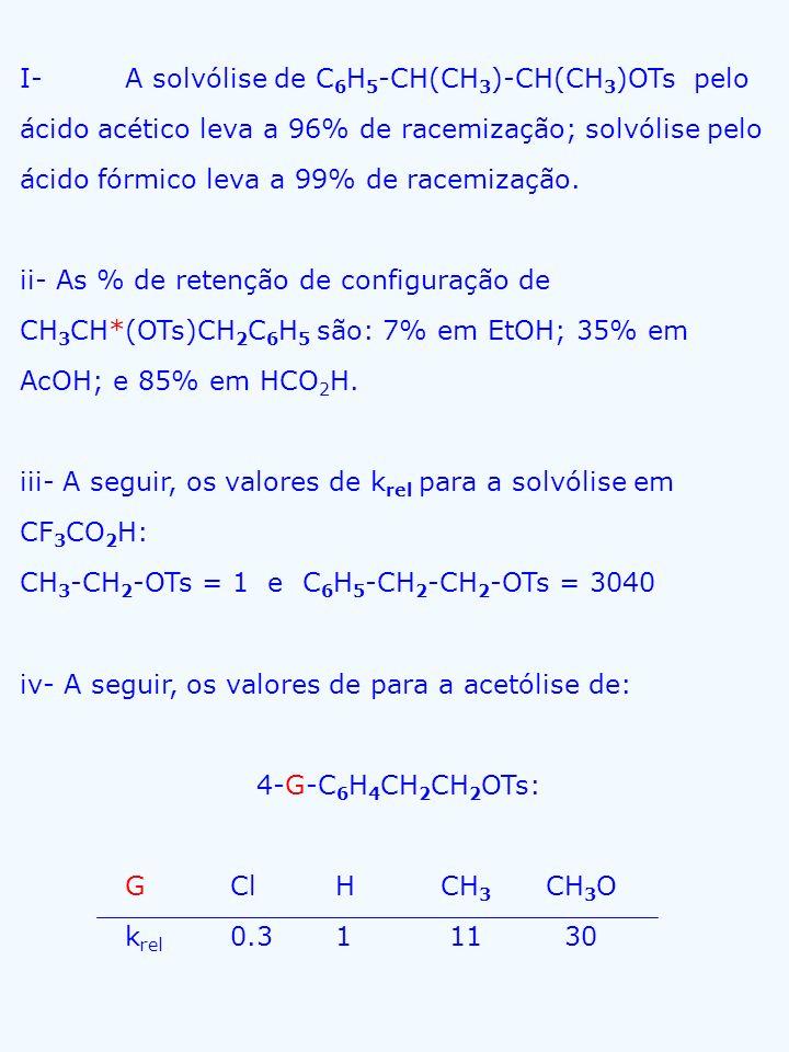 I- A solvólise de C6H5-CH(CH3)-CH(CH3)OTs pelo ácido acético leva a 96% de racemização; solvólise pelo ácido fórmico leva a 99% de racemização.