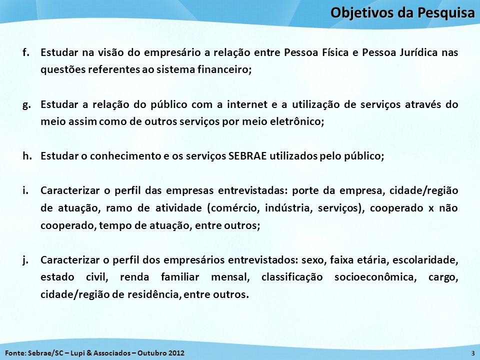 Objetivos da Pesquisa Estudar na visão do empresário a relação entre Pessoa Física e Pessoa Jurídica nas questões referentes ao sistema financeiro;