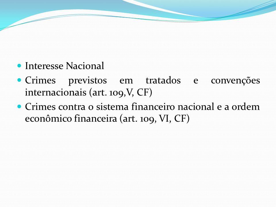 Interesse Nacional Crimes previstos em tratados e convenções internacionais (art. 109,V, CF)
