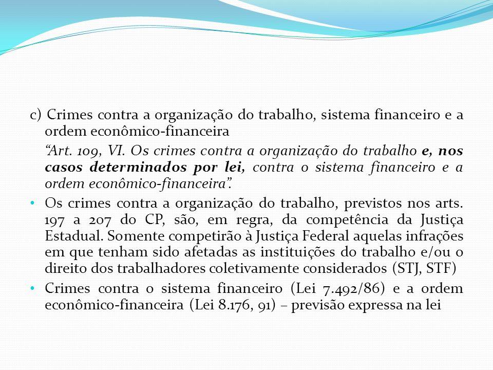 c) Crimes contra a organização do trabalho, sistema financeiro e a ordem econômico-financeira