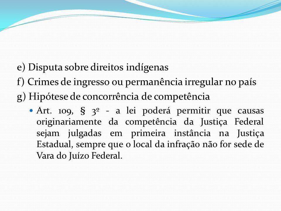 e) Disputa sobre direitos indígenas