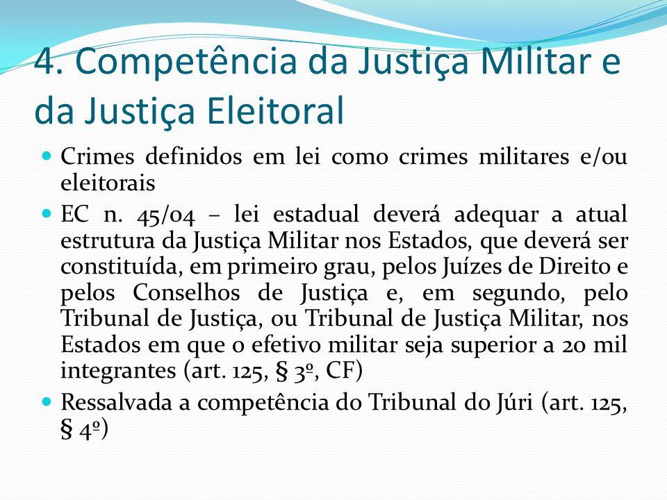 4. Competência da Justiça Militar e da Justiça Eleitoral