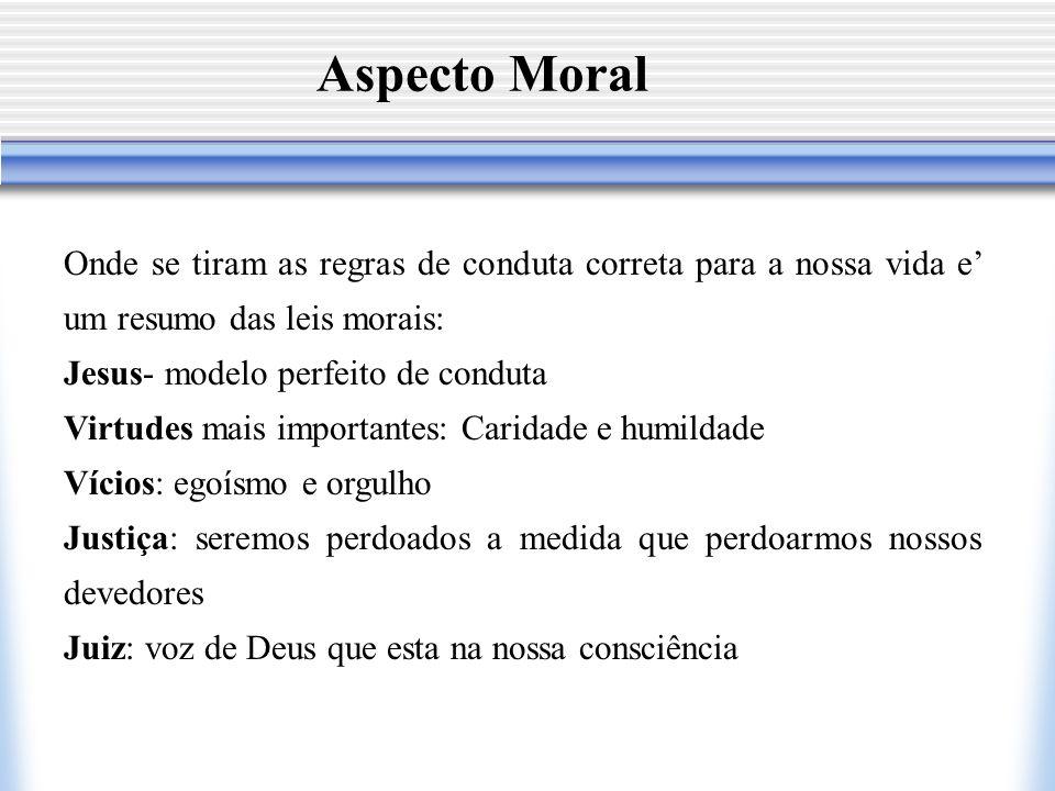 Aspecto Moral Onde se tiram as regras de conduta correta para a nossa vida e' um resumo das leis morais:
