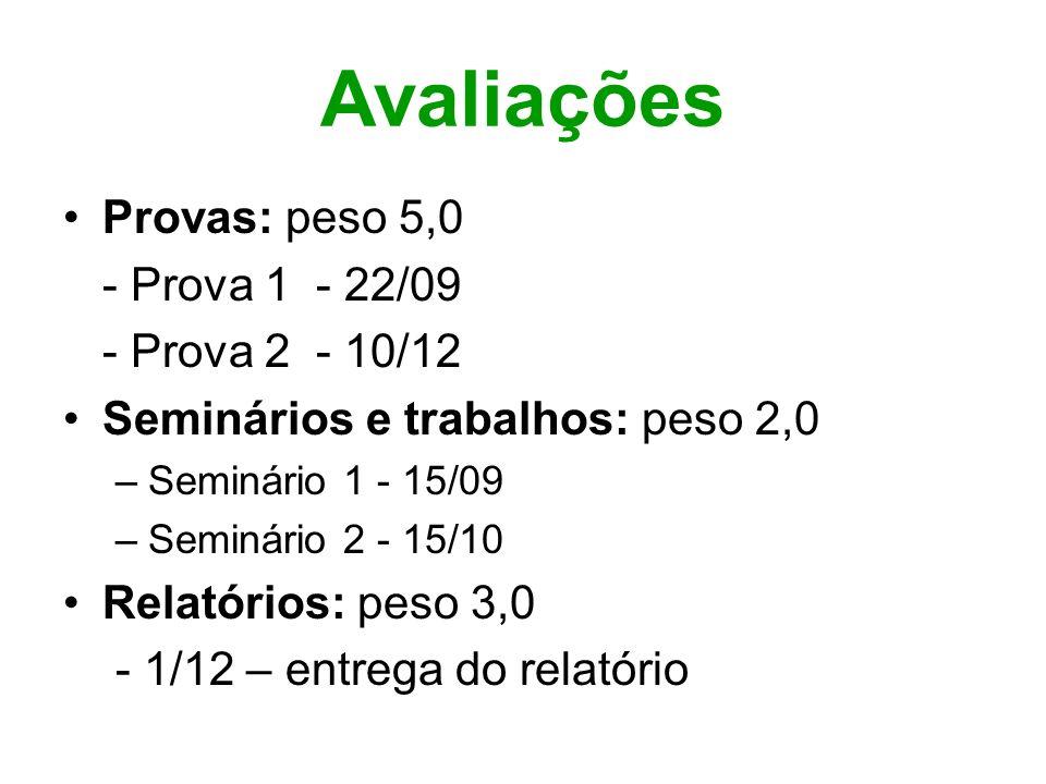 Avaliações Provas: peso 5,0 - Prova 1 - 22/09 - Prova 2 - 10/12