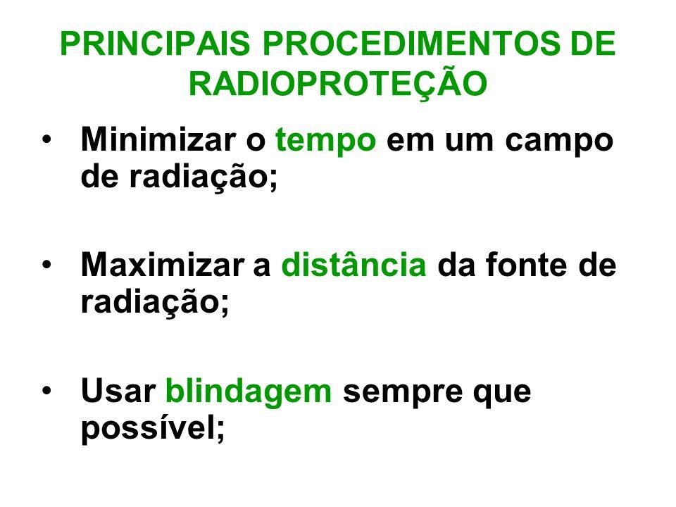 PRINCIPAIS PROCEDIMENTOS DE RADIOPROTEÇÃO