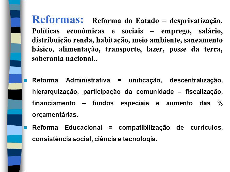 Reformas: Reforma do Eatado = desprivatização, Políticas econômicas e sociais – emprego, salário, distribuição renda, habitação, meio ambiente, saneamento básico, alimentação, transporte, lazer, posse da terra, soberania nacional..