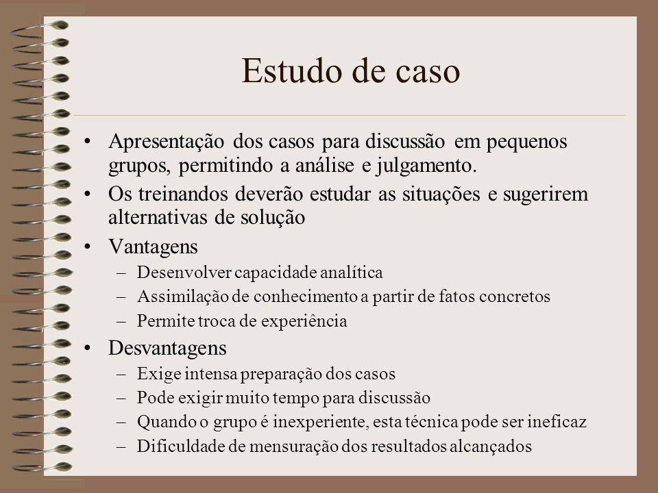 Estudo de caso Apresentação dos casos para discussão em pequenos grupos, permitindo a análise e julgamento.
