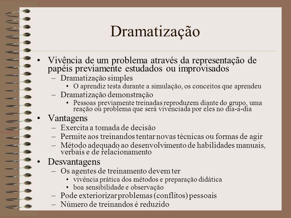 Dramatização Vivência de um problema através da representação de papéis previamente estudados ou improvisados.