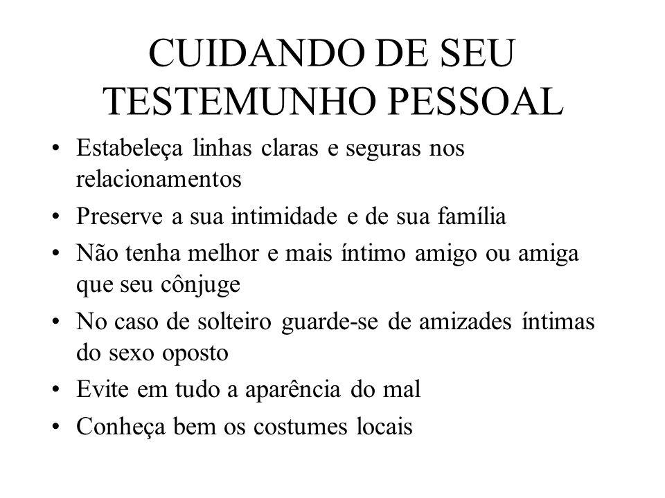 CUIDANDO DE SEU TESTEMUNHO PESSOAL