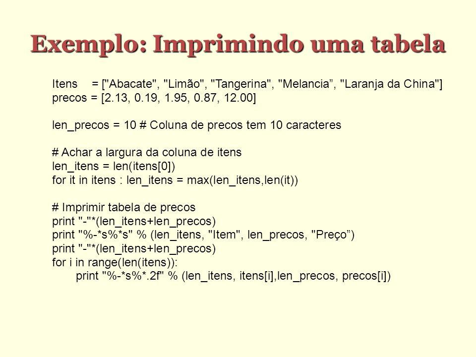 Exemplo: Imprimindo uma tabela