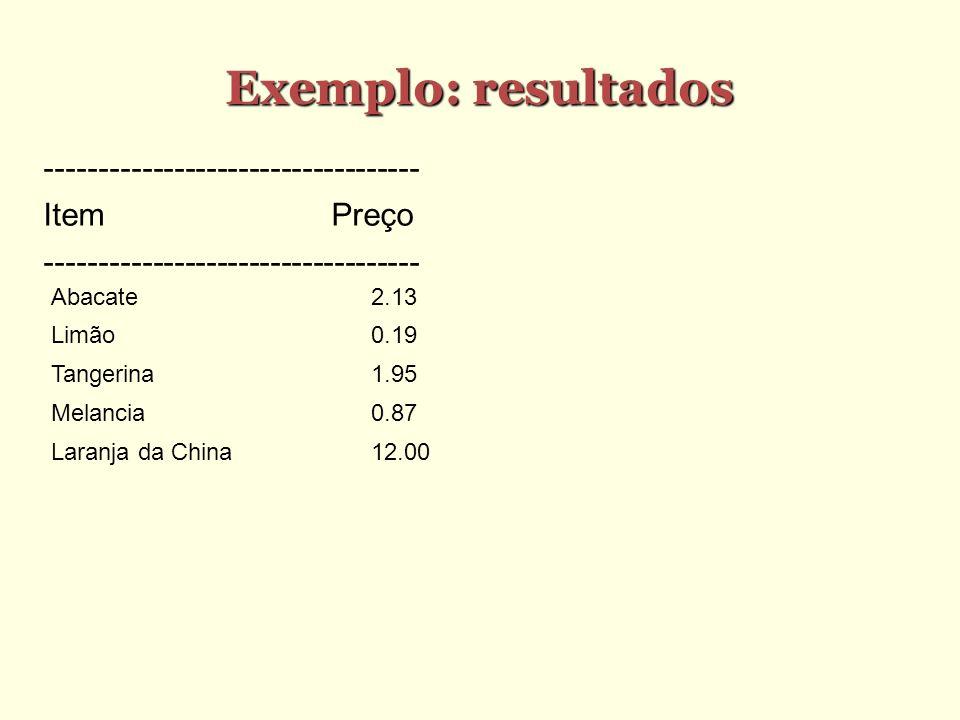 Exemplo: resultados ----------------------------------- Item Preço
