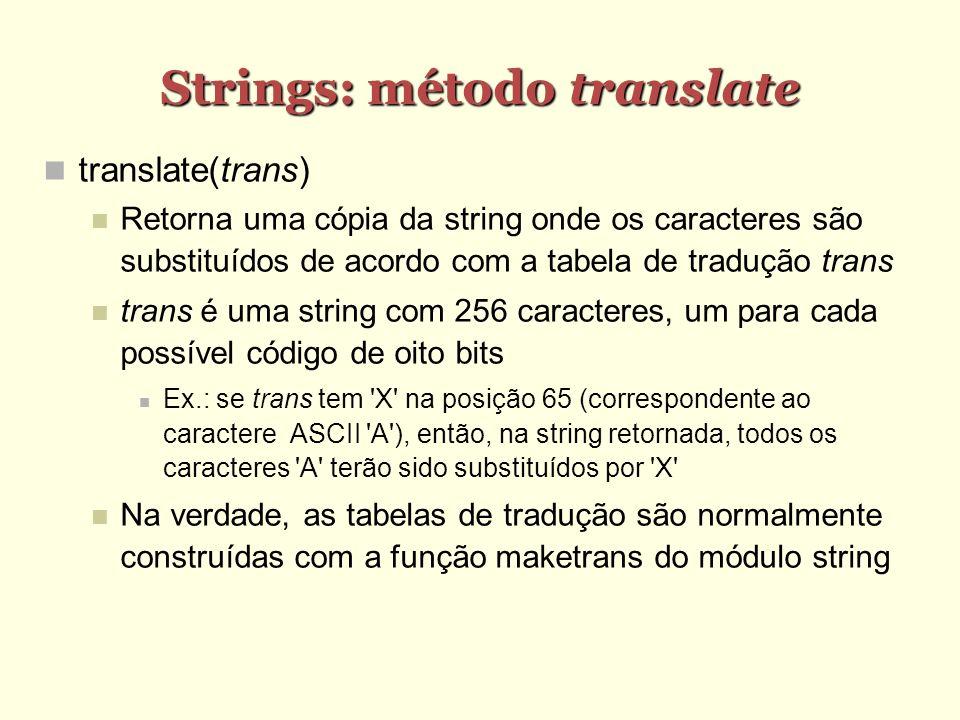 Strings: método translate