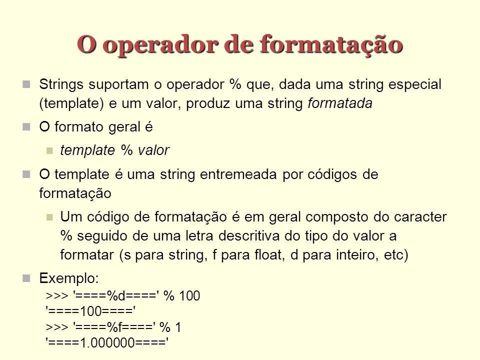 O operador de formatação