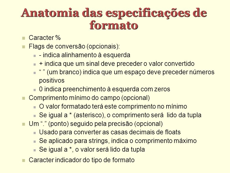 Anatomia das especificações de formato