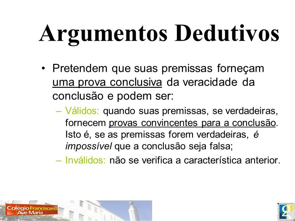 Argumentos DedutivosPretendem que suas premissas forneçam uma prova conclusiva da veracidade da conclusão e podem ser: