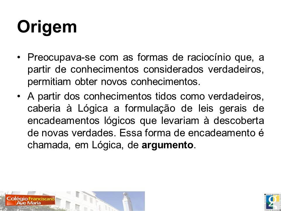 Origem Preocupava-se com as formas de raciocínio que, a partir de conhecimentos considerados verdadeiros, permitiam obter novos conhecimentos.