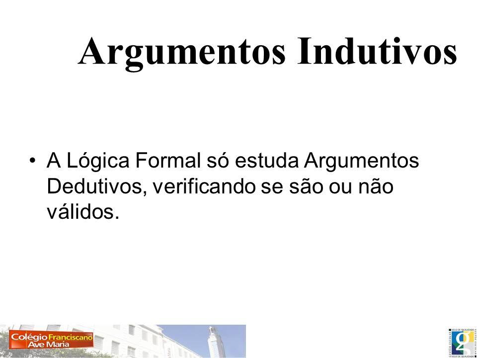 Argumentos IndutivosA Lógica Formal só estuda Argumentos Dedutivos, verificando se são ou não válidos.