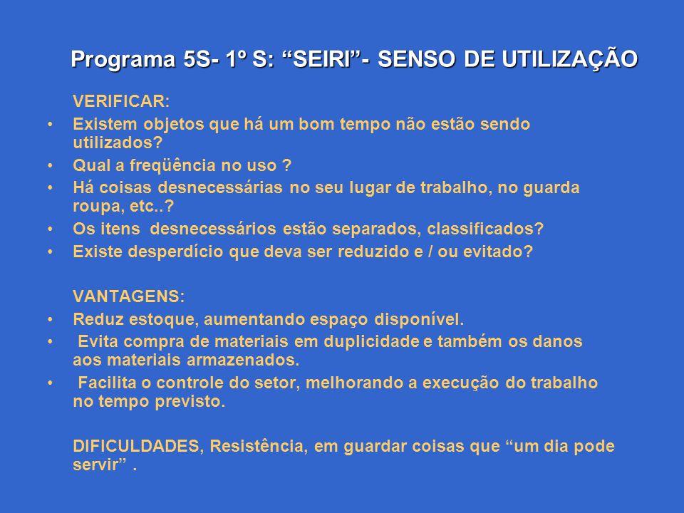 Programa 5S- 1º S: SEIRI - SENSO DE UTILIZAÇÃO