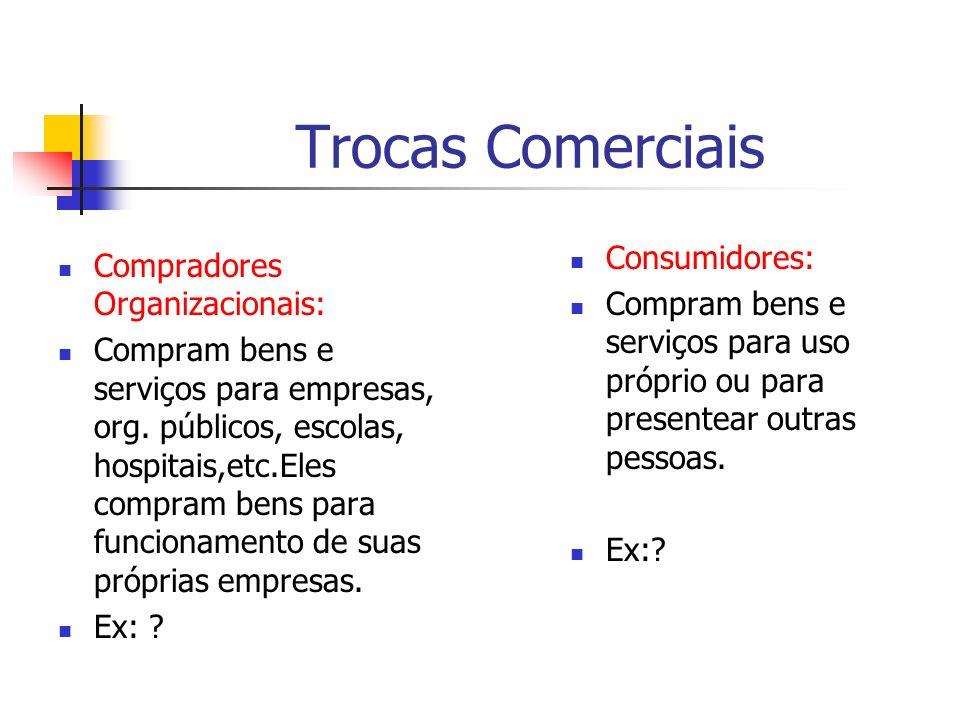 Trocas Comerciais Consumidores: Compradores Organizacionais: