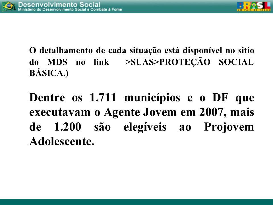 O detalhamento de cada situação está disponível no sitio do MDS no link >SUAS>PROTEÇÃO SOCIAL BÁSICA.)