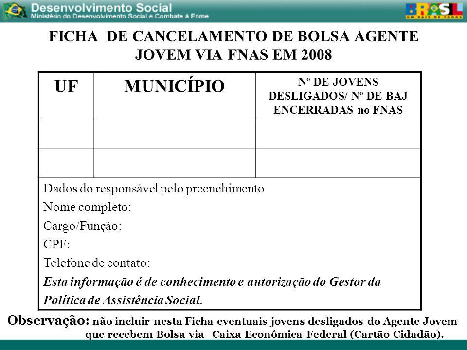 FICHA DE CANCELAMENTO DE BOLSA AGENTE JOVEM VIA FNAS EM 2008