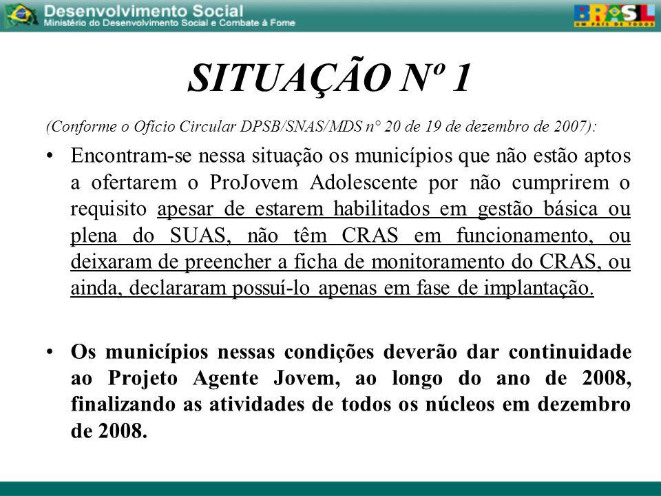 SITUAÇÃO Nº 1(Conforme o Ofício Circular DPSB/SNAS/MDS n° 20 de 19 de dezembro de 2007):