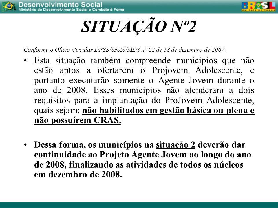 SITUAÇÃO Nº2 Conforme o Ofício Circular DPSB/SNAS/MDS n° 22 de 18 de dezembro de 2007: