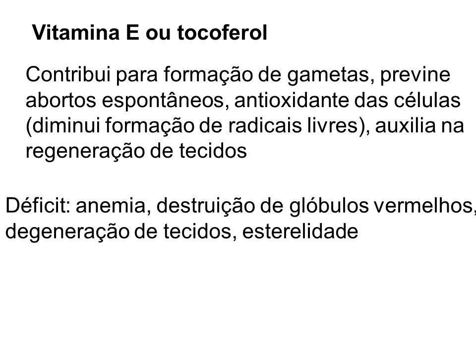 Vitamina E ou tocoferol