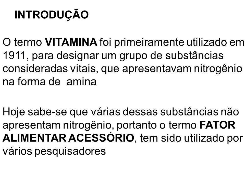 INTRODUÇÃO O termo VITAMINA foi primeiramente utilizado em. 1911, para designar um grupo de substâncias.