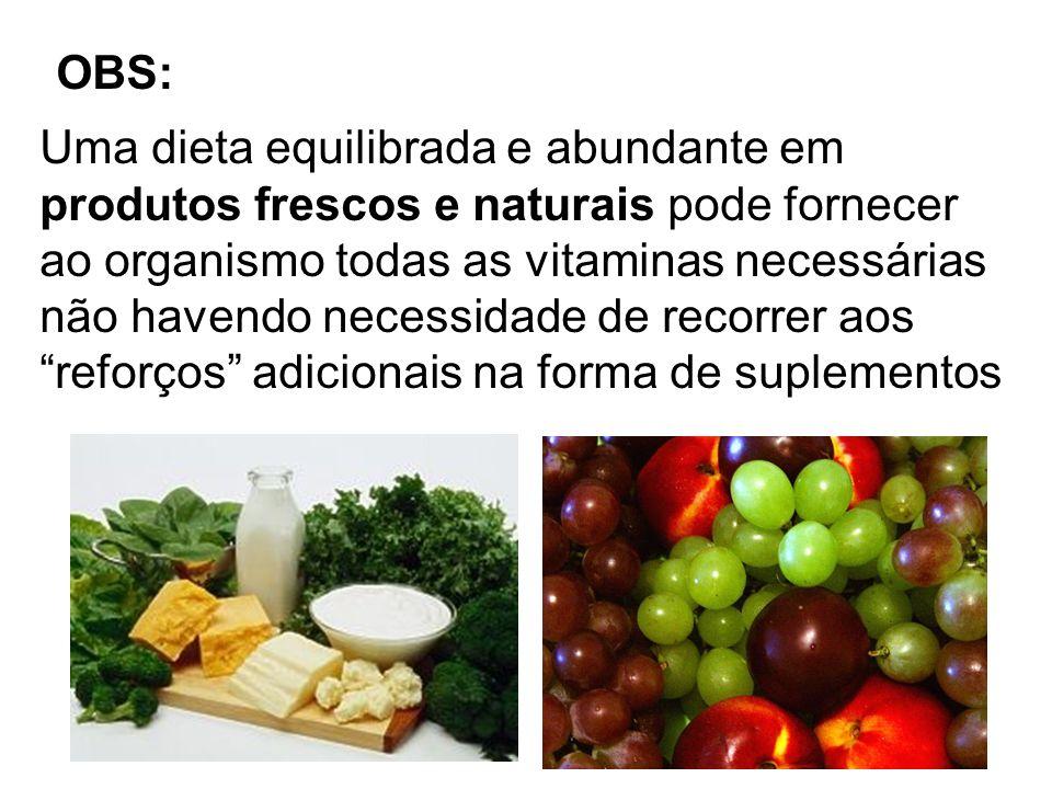 OBS:Uma dieta equilibrada e abundante em. produtos frescos e naturais pode fornecer. ao organismo todas as vitaminas necessárias.
