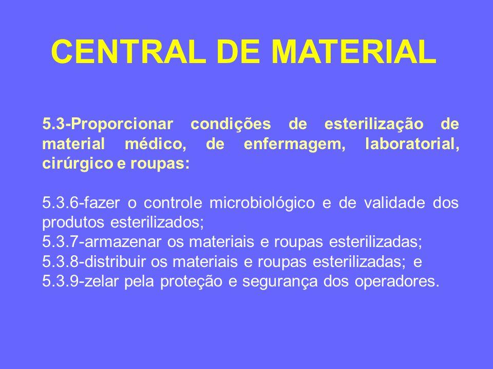 CENTRAL DE MATERIAL 5.3-Proporcionar condições de esterilização de material médico, de enfermagem, laboratorial, cirúrgico e roupas: