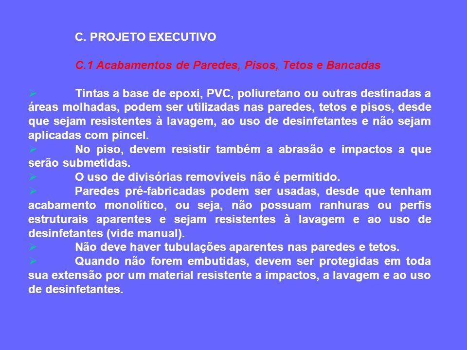 C. PROJETO EXECUTIVO C.1 Acabamentos de Paredes, Pisos, Tetos e Bancadas.