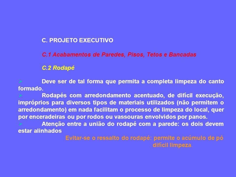 C. PROJETO EXECUTIVO C.1 Acabamentos de Paredes, Pisos, Tetos e Bancadas. C.2 Rodapé.