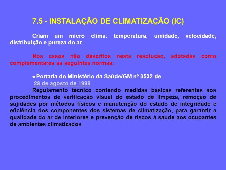 7.5 - INSTALAÇÃO DE CLIMATIZAÇÃO (IC)