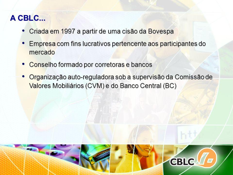 A CBLC... Criada em 1997 a partir de uma cisão da Bovespa