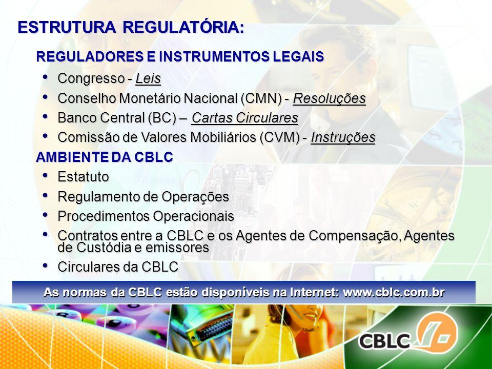 As normas da CBLC estão disponíveis na Internet: www.cblc.com.br