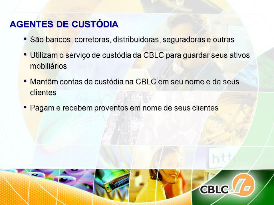 AGENTES DE CUSTÓDIA São bancos, corretoras, distribuidoras, seguradoras e outras.
