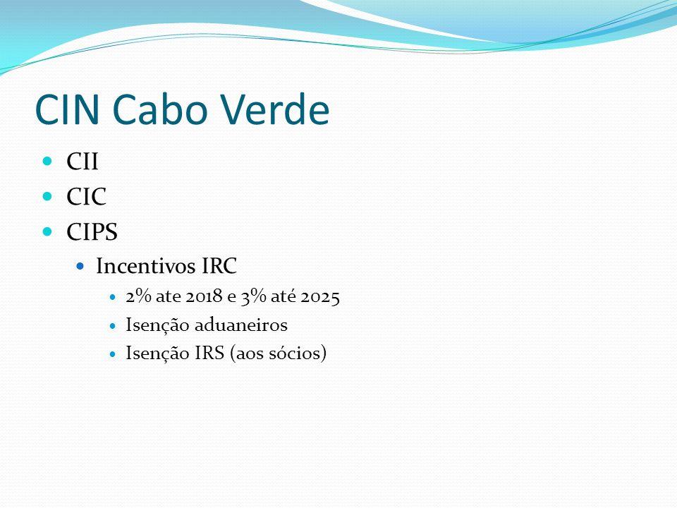 CIN Cabo Verde CII CIC CIPS Incentivos IRC 2% ate 2018 e 3% até 2025
