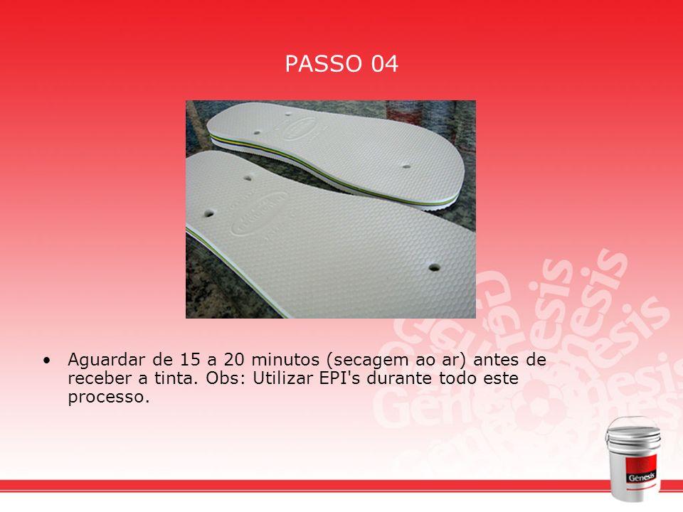 PASSO 04 Aguardar de 15 a 20 minutos (secagem ao ar) antes de receber a tinta.