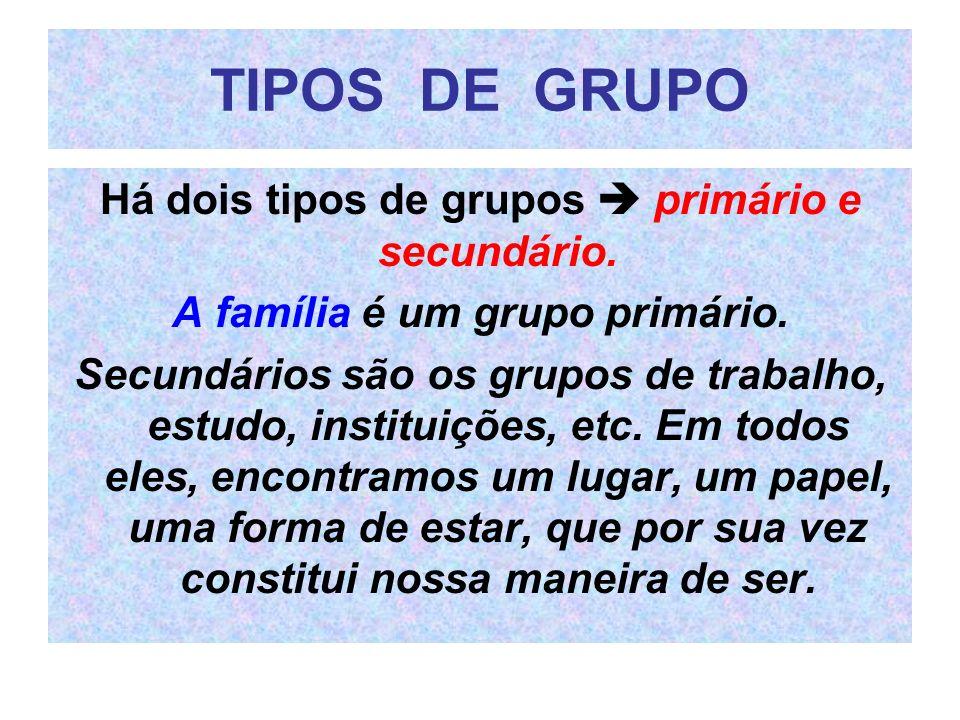 TIPOS DE GRUPO Há dois tipos de grupos  primário e secundário.