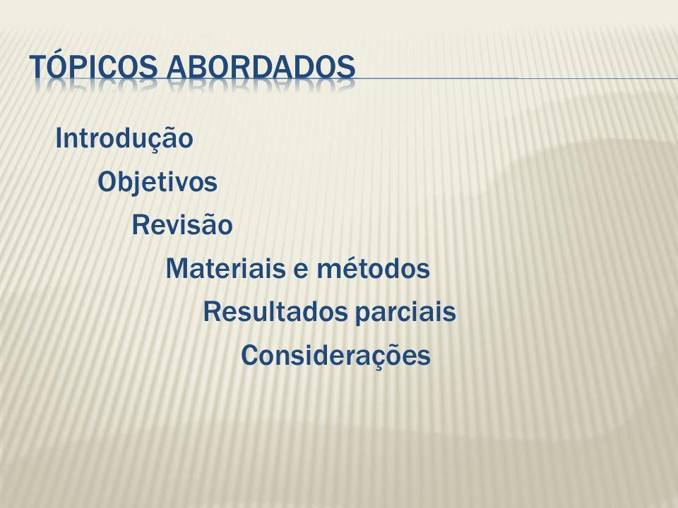 Tópicos abordados Introdução Objetivos Revisão Materiais e métodos
