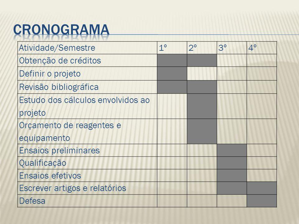 Cronograma Atividade/Semestre 1º 2º 3º 4º Obtenção de créditos
