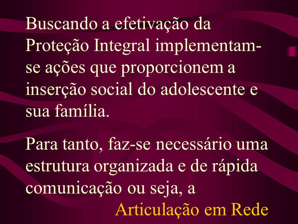 Buscando a efetivação da Proteção Integral implementam-se ações que proporcionem a inserção social do adolescente e sua família.
