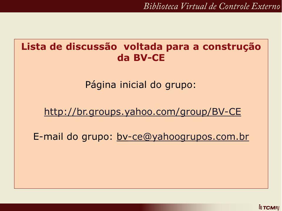 Lista de discussão voltada para a construção da BV-CE